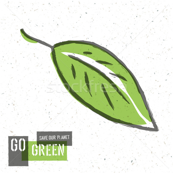 Go Green Concept Poster With Leaf Symbol. Vector Stock photo © pashabo