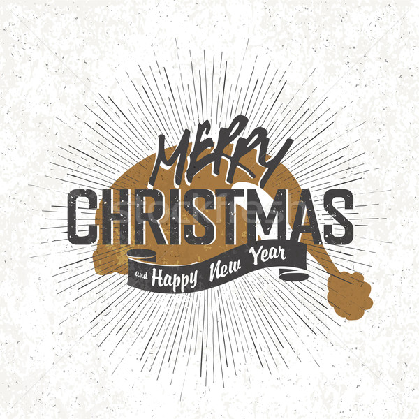 Merry Christmas Vintage Monochrome Lettering with Santa`s hat si Stock photo © pashabo