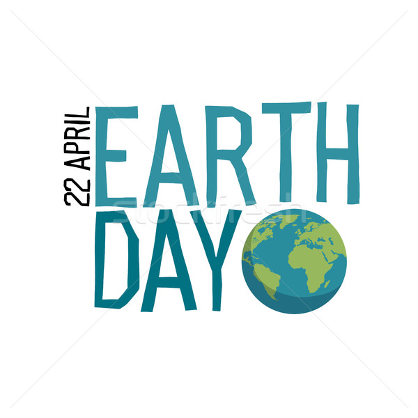 Earth day Logo. Planet and 'Earth day, 22 April' text. Hand draw Stock photo © pashabo