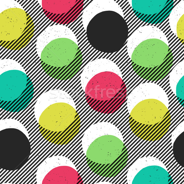 Pop-art style seamless print. Yellow, Cyan, Blue, Black Circles  Stock photo © pashabo
