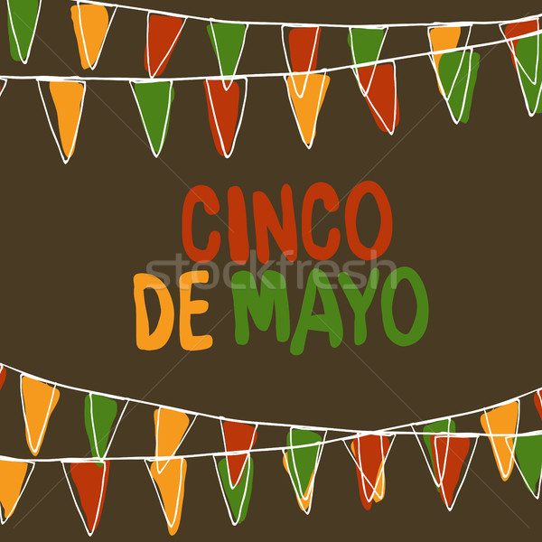 Cinco de Mayo Postcard. Holiday Pennant Bunting. Hand drawn vect Stock photo © pashabo