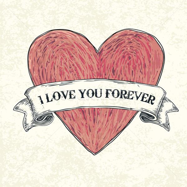 Sevmek sonsuza dek eps10 doku kalp boya Stok fotoğraf © pashabo