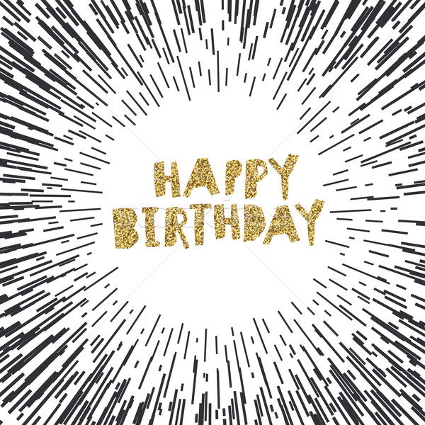 Happy Birthday on Black Burst Background.Vector Template for Pac Stock photo © pashabo