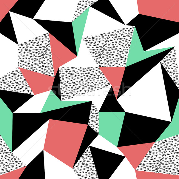 Pink and green triangles pattern design. Seamless print in retro Stock photo © pashabo