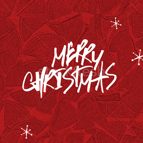 Merry Christmas Lettering. Stack of firewoods background Stock photo © pashabo