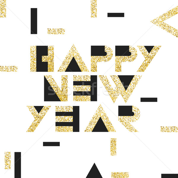 Happy new year carte postale or or géométrique typographie Photo stock © pashabo
