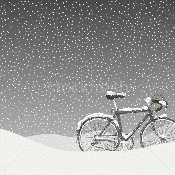 Snow Covered Bicycle Illustration, Calm Winter Scene Stock photo © pashabo