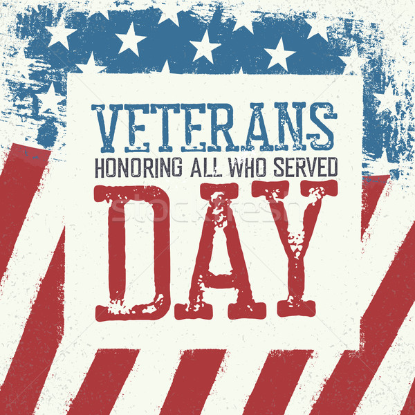 Veterans day typography on american flag background. Patriotic p Stock photo © pashabo
