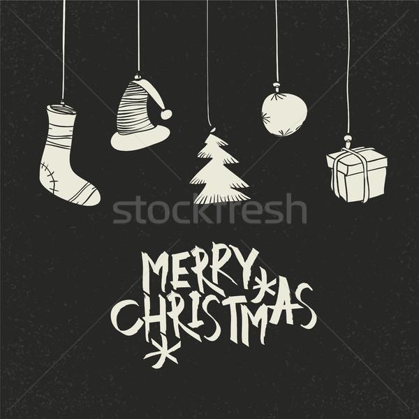 Vidám karácsony üdvözlet fekete képeslap retró stílus Stock fotó © pashabo