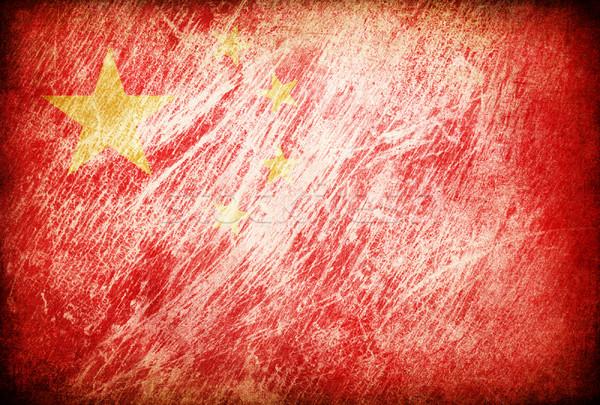 Foto stock: Grunge · bandeira · fundos · China · textura · digital
