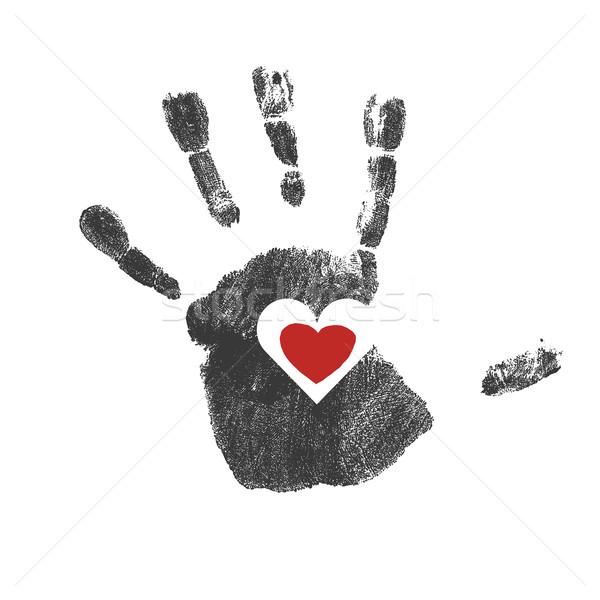 Stock fotó: Piros · szív · szimbólum · vektor · kéz · gyerekek