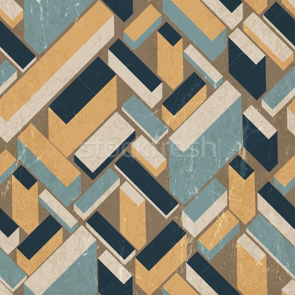 Naadloos retro vector gebouwen behang vintage Stockfoto © pashabo