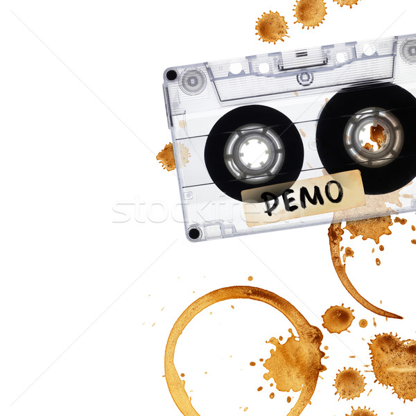 Vintage demo tape with coffee stains.  Stock photo © pashabo