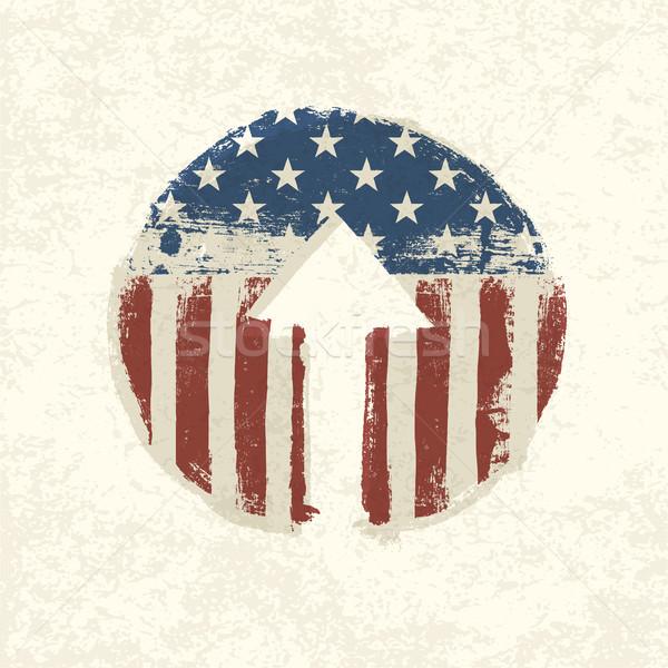 Grunge american flag themed up arrow symbol. Vector, EPS10 Stock photo © pashabo
