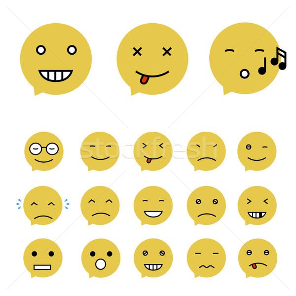 Emoticons Collection. Set of Emoji. Flat style. Different Emotic Stock photo © pashabo