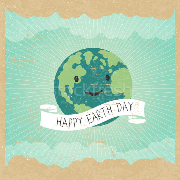 Vintage Earth Day Poster. Cartoon Earth Illustration. Rays, clou Stock photo © pashabo