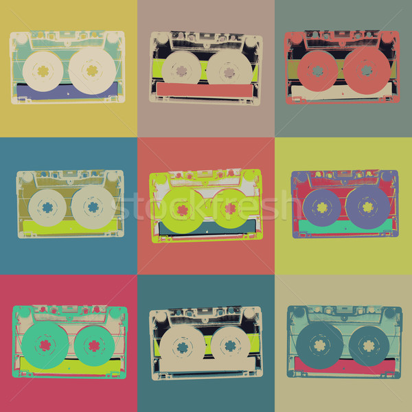 Audiocassette retro popart background. Seamless pattern Stock photo © pashabo