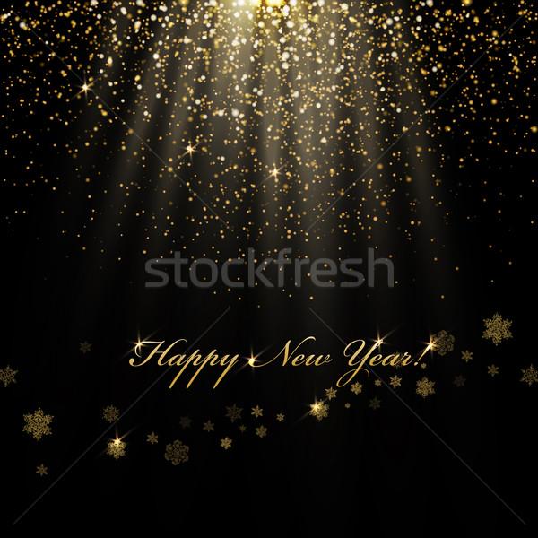 Feliz año nuevo dorado luces resumen vacaciones Foto stock © pashabo