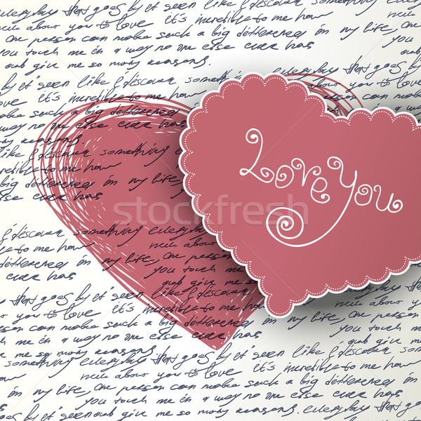 Día de san valentín amor resumen pluma diseno carta Foto stock © pashabo
