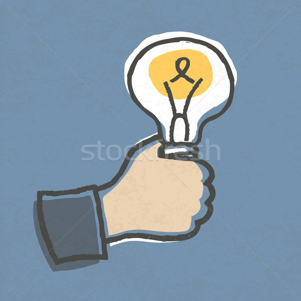 Businessman with Idea Bulb. Hand-drawn vector illustration, EPS1 Stock photo © pashabo