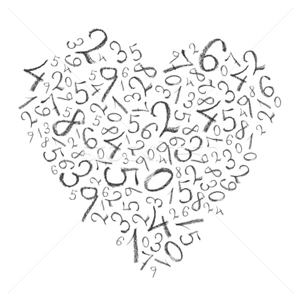 Heart shaped simple numbers isolated on white, high detailed. Stock photo © pashabo