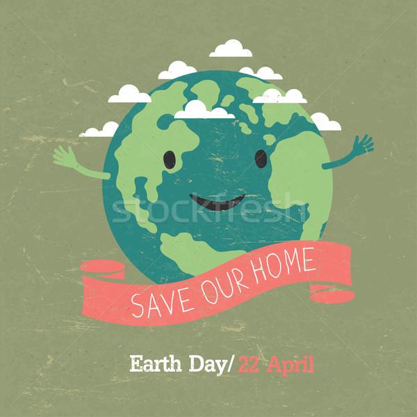 Vintage Earth Day Poster. Cartoon Earth Illustration. On grunge  Stock photo © pashabo