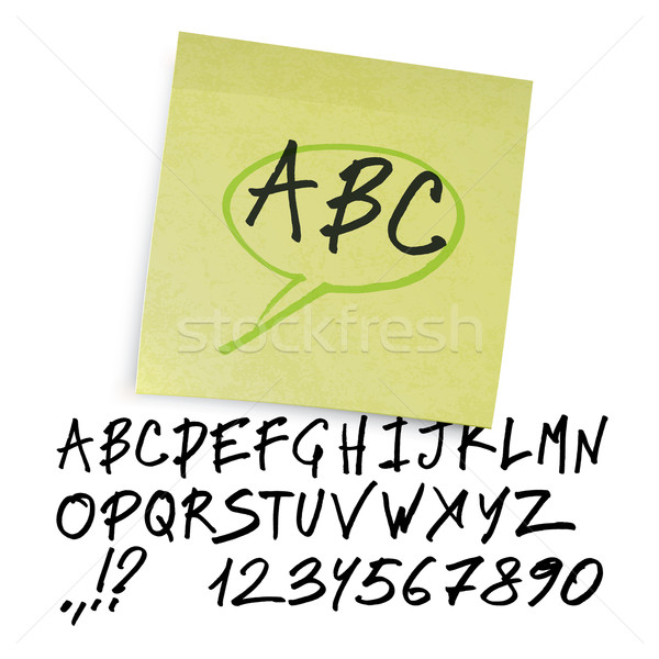 Handwritten alphabet (uppercase letters with numbers). Vector. Stock photo © pashabo