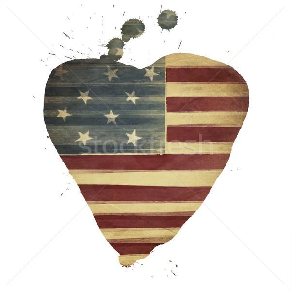 American flag yeart shaped. Vintage styled Stock photo © pashabo