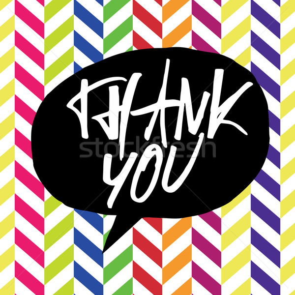 Thank you message. Lettering on colorful chevron pattern. In bla Stock photo © pashabo
