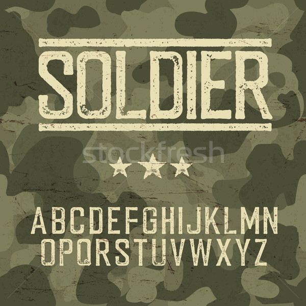 Soldier alphabet. Military deisgn set. Army design elements. Mil Stock photo © pashabo