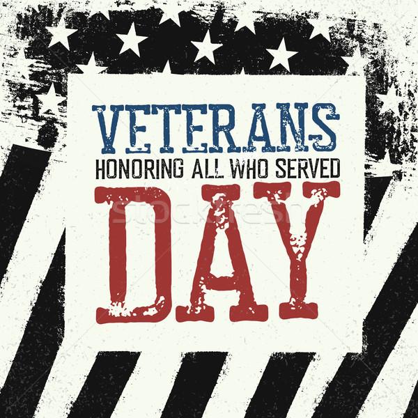 Veterans day logo on black and white american flag background.  Stock photo © pashabo