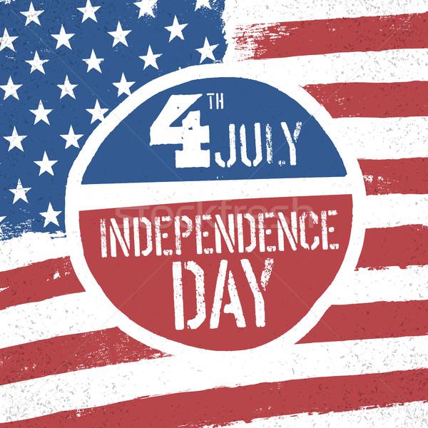 Negyedike nap amerikai zászló hazafias zászló üdvözlet Stock fotó © pashabo