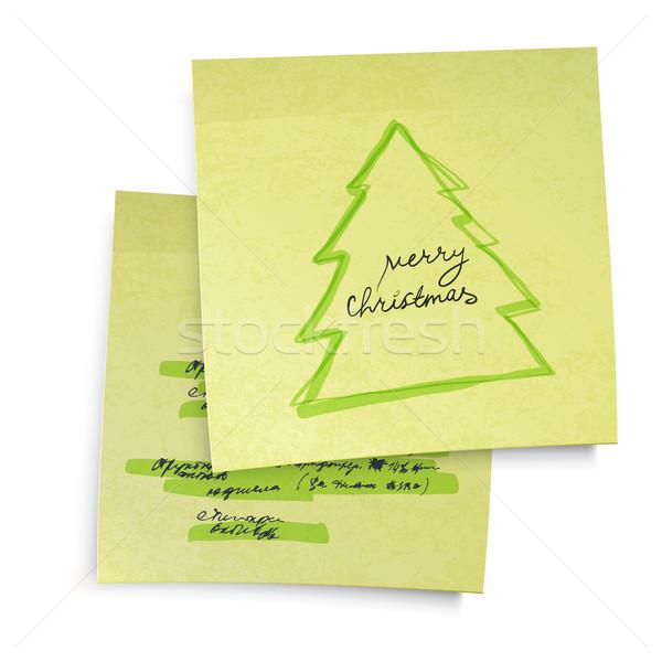 Stockfoto: Business · Geel · sticky · notes · vrolijk · kerstboom · vector
