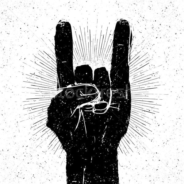 Grunge Rock geste illustration modèle slogan Photo stock © pashabo
