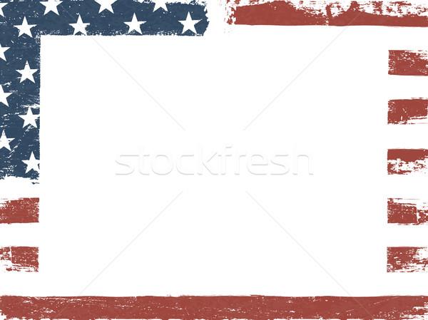 Lege witte grunge doek Amerikaanse vlag vaderlandslievend Stockfoto © pashabo