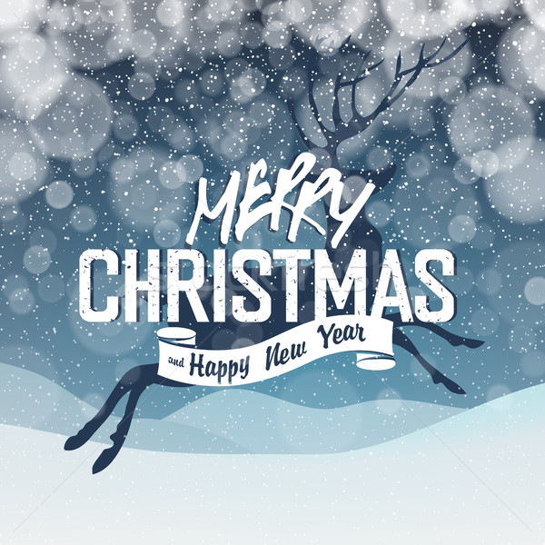 Merry Christmas Abstract Lights Background. Snowfall background. Stock photo © pashabo