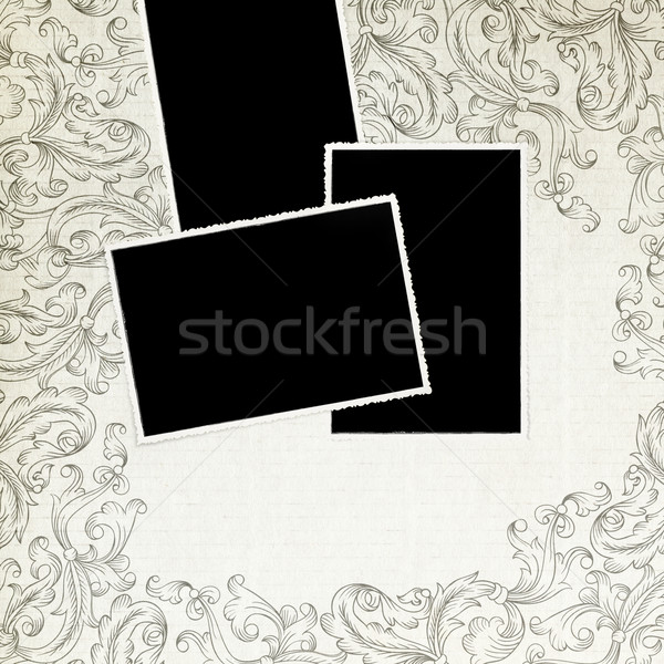 Old photos on vintage background with space for text. Stock photo © pashabo