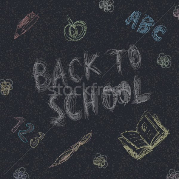 Back to school. Written by chalk on the asphalt background. Vect Stock photo © pashabo