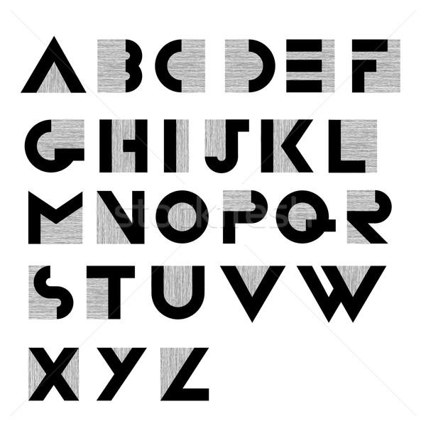 широкий декоративный ретро алфавит искусства черный Сток-фото © pashabo
