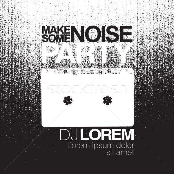 Make some noise. Night Party flyer. Black and white. No signal b Stock photo © pashabo