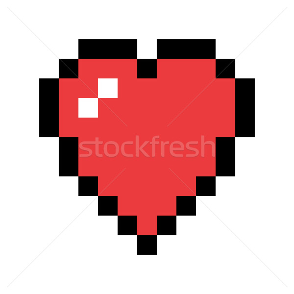 Pixel Art Red Heart Love And Valentine Symbol Vector Icon Desi