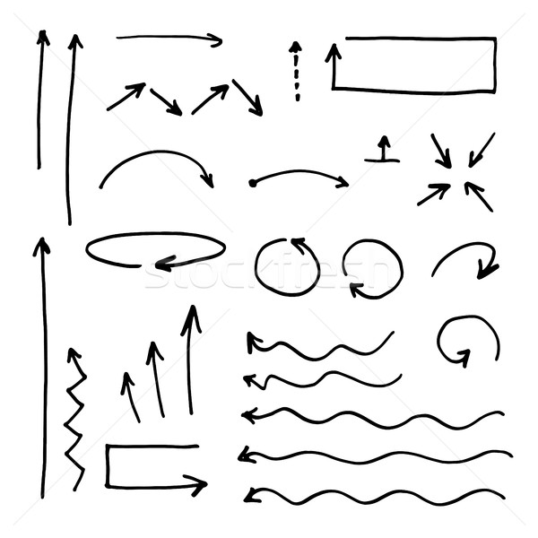 Isolated vector hand drawn arrows set on a white background. Str Stock photo © pashabo