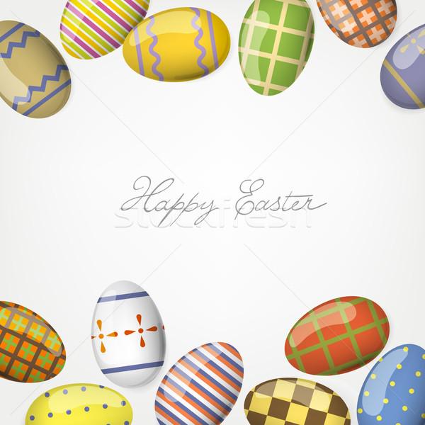 Colorido huevos de Pascua marco plantilla Pascua papel Foto stock © pashabo