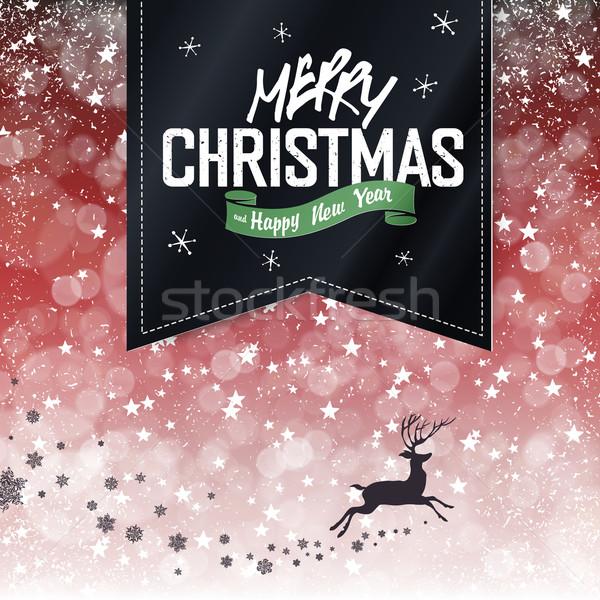 Merry Christmas Vintage Background. Falling Snow and Black Badge Stock photo © pashabo