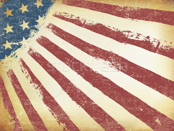 Grunge Aged American Flag Background. Horizontal orientation, ve Stock photo © pashabo