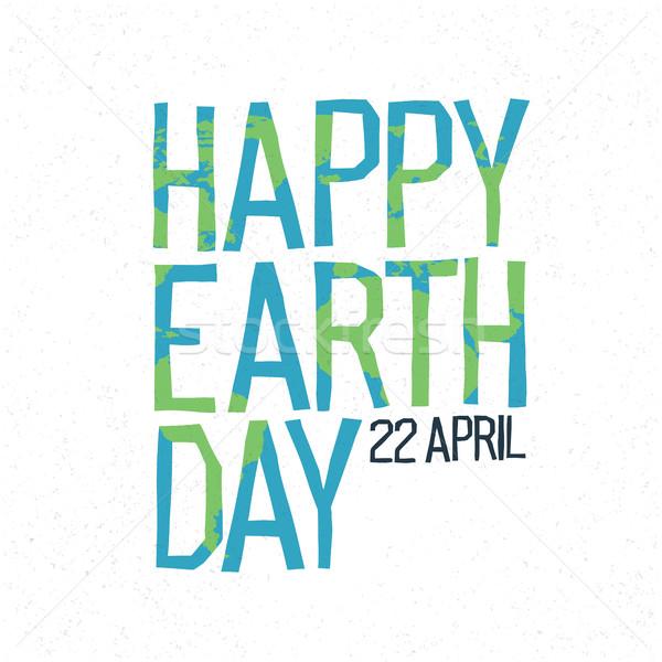 Feliz dia da terra 22 abstrato design de logotipo mapa do mundo Foto stock © pashabo
