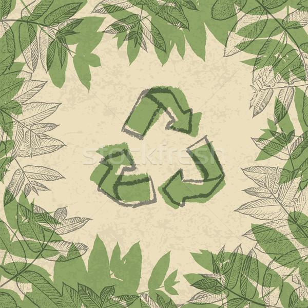 Сток-фото: Recycle · символ · напечатанный · бумаги · кадр · листьев
