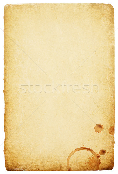 Stock photo: Vintage paper with coffee rings stain. Abstract bisolated backgr
