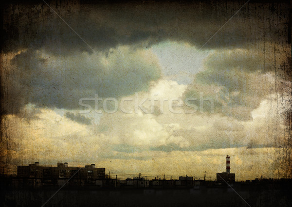 Sky with dramatic clouds over the ghetto (Moscow, Russia). Grung Stock photo © pashabo