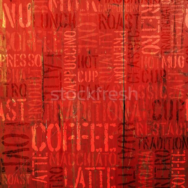 Caffè esperienza parole rosso vettore texture Foto d'archivio © pashabo